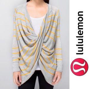 Lululemon Twist & Wrap Gray and Yellow Sweater, 8